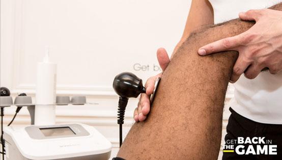 Zoom sur une tecarthérapie sur une cuisse