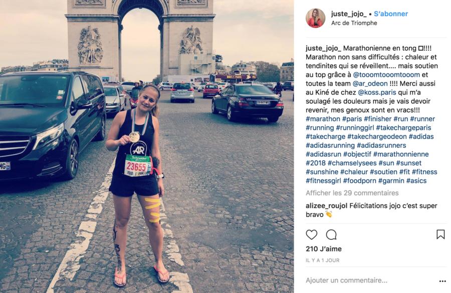 Marathon de Paris des patients des cabinets de kiné du sport et ostéo du sport KOSS Paris 7 et KOSS Paris 8