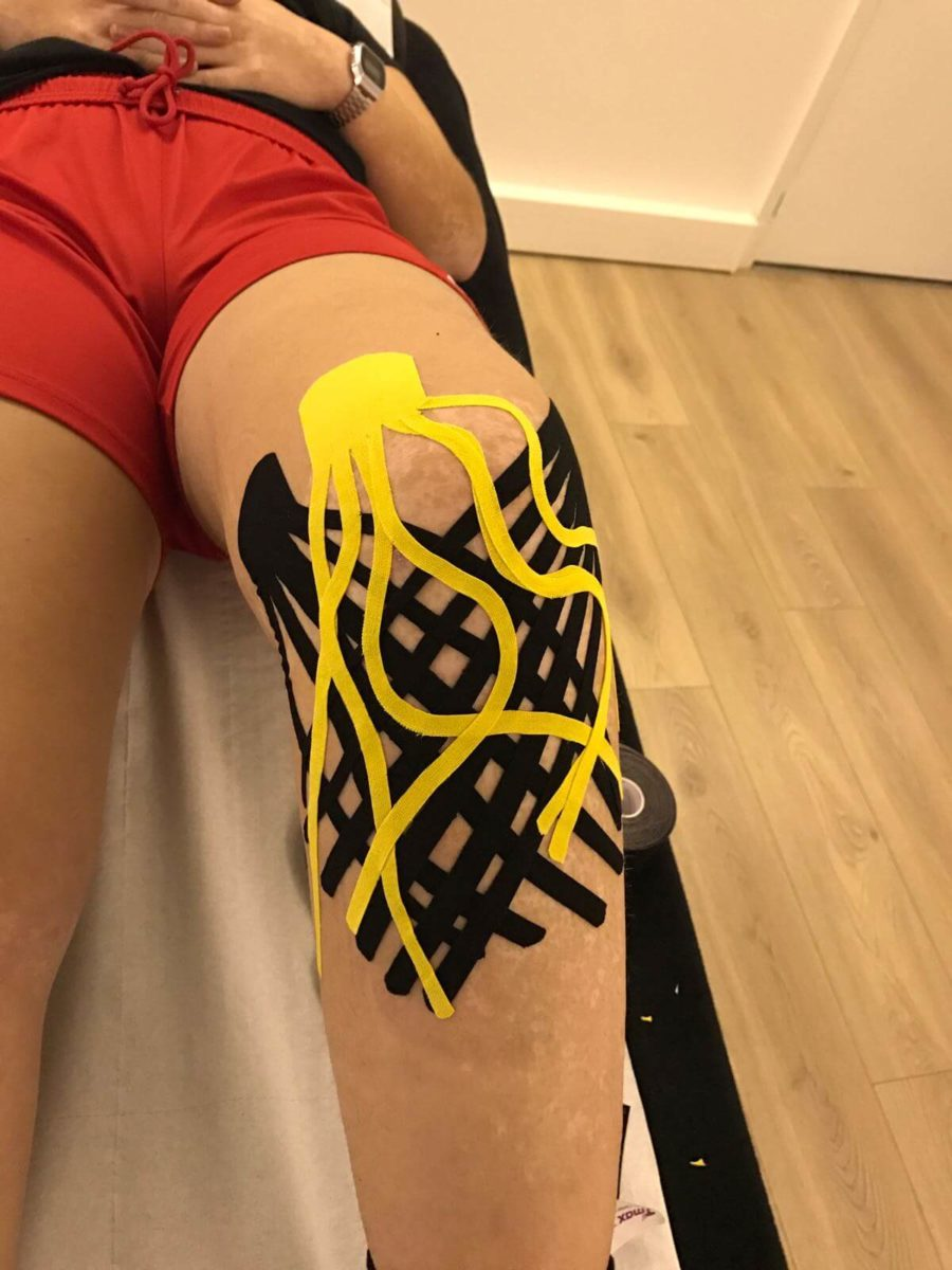 k-tape sur un genou